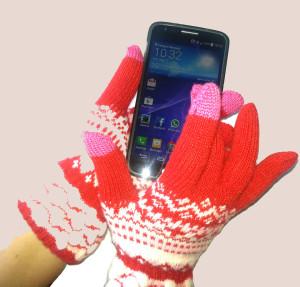 guanti touch rossi